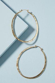 Slide View: 1: Hammered Pineapple Hoop Earrings