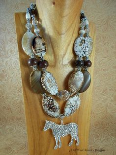 Western Cowgirl Necklace Set  Chunky Brown Fire Agate