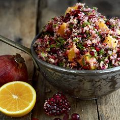 Cranberry Orange Quinoa Salad - I added black raspberries,  blueberries,  red raspberries,  chopped dates and almond extract to the quinoa while boiling.  OMFG I WANT THIS NOWW