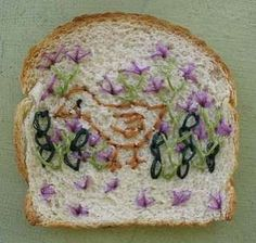 Catherine McEver takes slices of Wonder Bread and sews patterns to look like paintings or interesting designs.