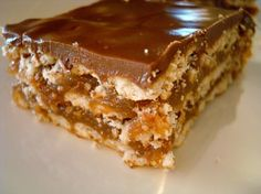 Caramel Crunch Bars: 80 club crackers (I used multi-grain) , 1 cup butter , 2 cups graham cracker crumbs , 1 cup fimrly packed brown sugar , 1/2 cup milk , 1/3 cup sugar , 2/3 cup creamy peanut butter , 1/2 cup semisweet chocolate morsels , 1/2 cup butterscotch morsels