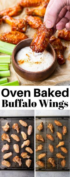 Oven Baked Buffalo Wings  Veronika's Kitchen Oven Baked Buffalo Wings is the b...  CRISPY BAKED CHICKEN WINGS Oven Baked Buffalo Wings  Veronika's Kitchen Oven Baked Buffalo Wings is the best recipe for crispy chicken wings made with dry rub and delicious buffalo sauce! It's a perfect appetizer for a crowd or on a game day! #buffalo #chickenwings #buffalowings Baked Bbq Chicken Thighs, Crispy Baked Chicken Wings, Cashew Chicken, Thai Chicken, Baked Buffalo Wings, Appetizers For A Crowd, Chicken Wing Recipes, Oven Baked, How To Cook Chicken
