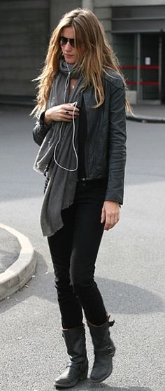 Gisele motorcycle boot. Love this fall look head to toe