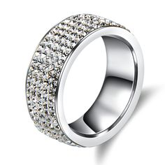 5 Rows Crystal Stainless Steel Elegant Love Wedding Ring For Women //Price: $9.49 & FREE Shipping //     #design