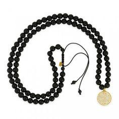Sydney Evan necklace: Medium Yellow-Gold & Diamond Disc on Onyx Necklace