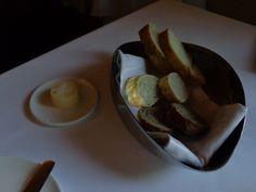 Crispy bread with butter and a bit of salt @ Restaurace Bellevue