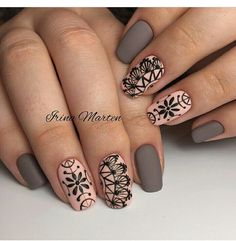 acrylic square nails design and color ideas for short nails- white blac Henna Nails, Lace Nails, Henna Nail Art, Square Nail Designs, Best Nail Art Designs, Nail Art Abstrait, Fun Nails, Pretty Nails, Nail Art Design Gallery