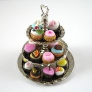 Doll House Miniature Food Cupcakes on a Stand