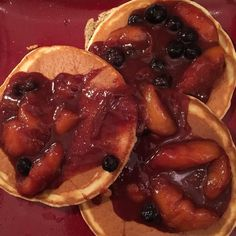 [Homemade] Pancakes with a peach blueberry compote. #food #foodporn #recipe #cooking #recipes #foodie #healthy #cook #health #yummy #delicious