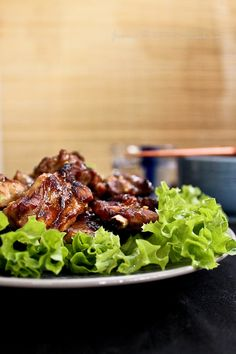 Chinese style soy-glazed roasted spare ribs.