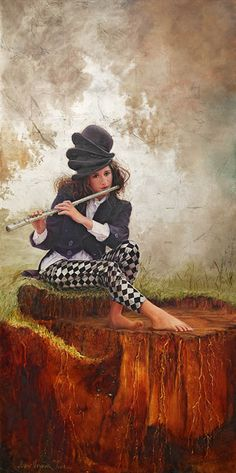 Oil Painting with GoldLeaf by Susan Harrison-Tustain, girl playing the flute