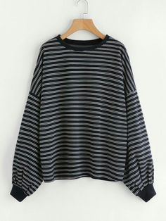 17.60 black sweatshirt with horizontal stripes. Wear with blue pinstripe trousers