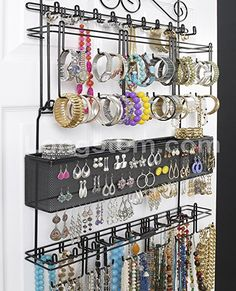 Amazon.com: Longstem: 6100 Overdoor Wall Jewelry Organizer Valet in Black - Holds over 300 pieces! Unique patented product - Rated Best!: Home & Kitchen
