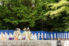 The beginning of rice planting season.  Men and women dressed in heian era robes.