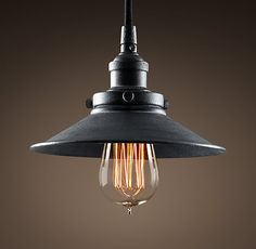 """100x more reasonably priced than the pulley one.  Metal Filament 7½"""" Pendant  Weathered Zinc"""