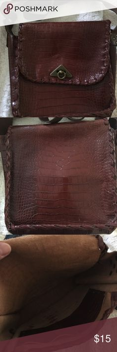 """All leather 70s style bag All leather 70 style bag with crocodile in print all sides. 8.5"""" High x 10"""" Wide x 3"""" Deep. Strap is adjustable approximately 50"""" long max. Willing to negotiate price. Bags Crossbody Bags"""