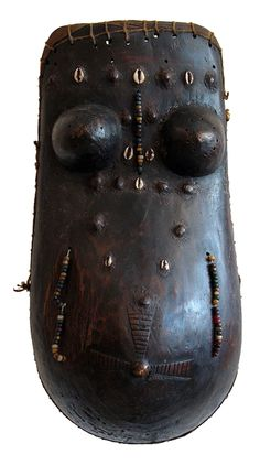 Africa | Body mask from the Makonde people of Tanzania and Mozambique | Wood, glass beads, shells and natural fiber