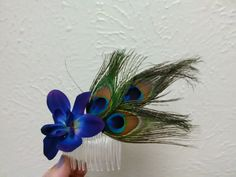 Galaxy orchid & peacock feathers hair comb accessory by TrailerParkStyle on Etsy
