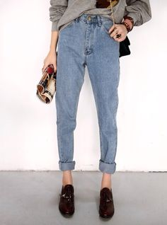 boyfriend jeans and loafers. i would wear this with my white cropped sweater and my J bag