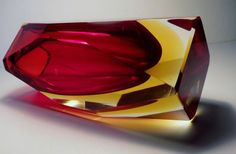 Murano Mandruzzato Sommerso faceted art glass vase,sculpture