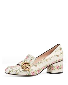 Gucci Marmont Rose-Print Leather Pump
