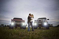 His & Hers...I love this picture! But maybe with our jeeps and a power wheels jeep to announce baby!