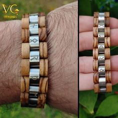 """Honor The Gods"" Runes - Wooden Bracelet Viking Bracelet, Viking Jewelry, Viking Arm Rings, Jewelry Gifts, Men's Jewelry, Fashion Jewelry, Stainless Steel Rings, Handmade Wooden, Bracelet Designs"