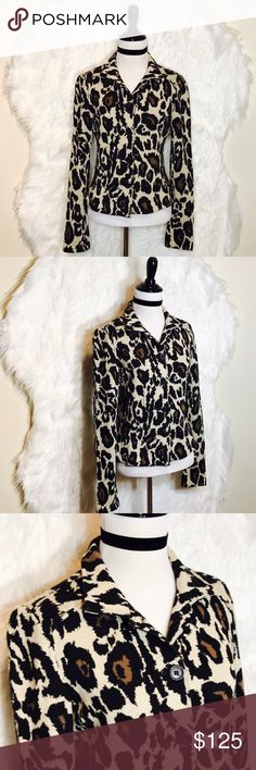 """Diane von Furstenberg Animal Print Blazer A sexy leopard blazer. Add a soft cotton touch to this classic tailored look. Cropped, Fitted w/2 side yokes, 100% cotton, 5 buttons down front. Pit to pit: 18"""", length: 25"""". NWOT Diane Von Furstenberg Jackets & Coats"""