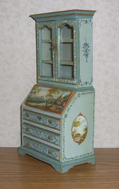 It is signed - Leslie Lassige (that's me!). and dated on the bottom of the piece. Dollhouse Miniature Secretary Desk with Hutch. I've hand painted this secretary desk with hutch top in a base of seafoam green & french teal. | eBay!