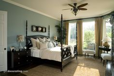 Light Blue Walls + Dark Furniture + White Ceiling + White Trim + White Bedding + Neutral Curtains + Neutral Rug