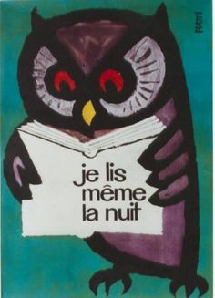 "1960s Vintage Poster, Owl Reading: ""Je Lis Meme La Nuit"" (I Even Read at NIght)"
