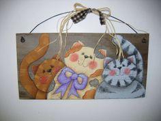 Folk Art, Three Kitties, Hand Painted on Barn Wood, Rustic, Primitive, Tole Painted