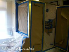 Great solution on a budget paint existing metal shower enclosures to match new fixtures using paint. Doing this in my new house:) Shower Enclosure, Shower Faucet, Bathroom Faucets, Paint Bathroom, Bathroom Showers, Gold Bathroom, Painting Shower, Spray Painting, Painting Tips