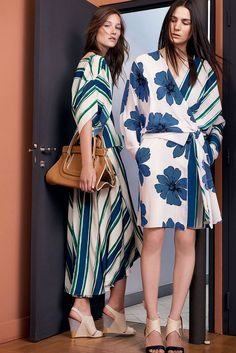 "The Chloé Spring 2015 Collection – ""Everston"" bag, ""Eliza"" wedge sandals in vegetal calfskin, printed top in crêpe de chine, flared skirt in printed crêpe de chine, wrap dress in printed crêpe de chine, ""Emily"" sandals in nappa lambskin"