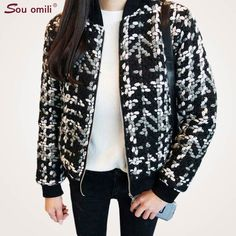 b722ba5ca High Quality 50% Wool Bomber Jacket Women Coat Slim Short Tweed Jacket  Fashion Female Outwear