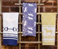 LOVE these equestrian tea towels from The Painting Pony with horses on them!