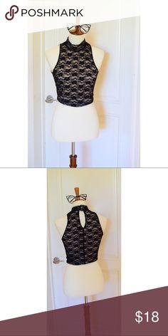 Black Lace Crop top NWT Tops Crop Tops