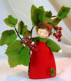 Wool-felted, Waldorf-Inspired Little Girl 'RED CURRANT' Flower Fairy Child ................................................................................................ by KatjasFlowerFairys | Etsy