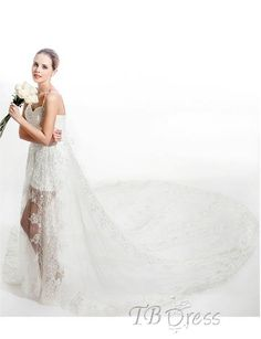 Sexy Sheath/column Perspective Spaghetti Straps Cathedral Train Wedding Dress