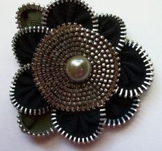 Black Floral Brooch / Zipper Pin by ZipPinning 2960 by ZipPinning on Etsy