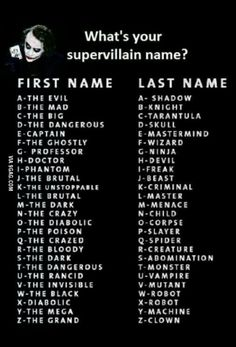 What's your supervillain name ? The Invisible Abomination