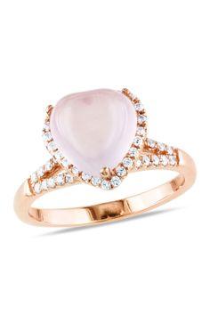 Rose Quartz & CZ Heart Ring