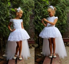 White Lace High Low Girls Pageant Dresses 2016 Off Shoulder Applique Beads Tulle Flower Girl Dresses For Wedding Kids Birthday Party Gowns Online with $79.59/Piece on Sexypromdress's Store | DHgate.com