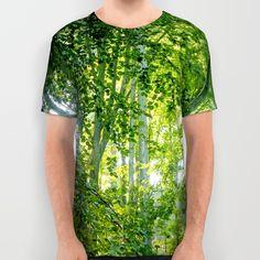 MM - Sunny forest All Over Print Shirt Sunlight in a broadleaf forest on a summer day  Landscape, nature, light, green,trees, leaf, summer, flora, trunks