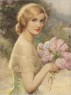 Albert Henry Collings (english, 1868-1947)-Girl with lilac