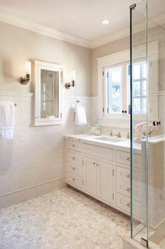 Bathroom. (Wall color: Revere Pewter by Benjamin Moore.)
