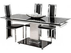 Febland Extending Dining Table Chrome Frame and Black Glass Base  451 20Want to revamp your  diningarea  If yes  then grab your hands for  . Dining Table Black Glass. Home Design Ideas