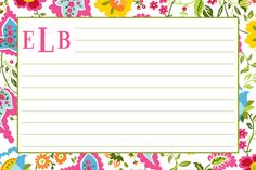 Personalized Monogrammed Bright Floral Recipe Cards