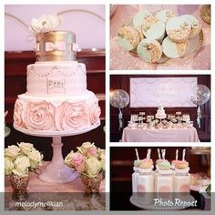 Shabby Chic Baby Shower Cakes | How gorgeous is this dessert table? By @melodymelikian #princess # ...