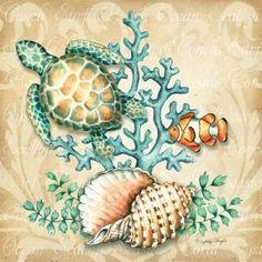 sea creatures art - Sea Life I Canvas Art Sydney Wright x Sea Life Art, Sea Art, Sea Life Tattoos, Etiquette Vintage, Nautical Art, My Canvas, Sea Creatures, Rock Art, Painted Rocks
